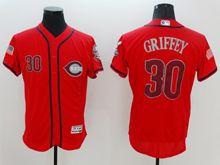 mens majestic cincinnati reds #30 ken griffey red fashion stars stripes Flex Base jersey