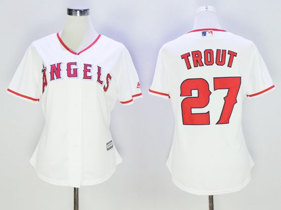Women Mlb Los Angeles Angels #27 Mike Trout White Jersey