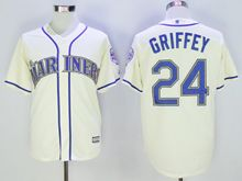 Mens Mlb Seattle Mariners #24 Ken Griffey Jr Cream (2016 Hall Of Fame) Cool Base Jersey