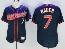 mens majestic minnesota twins #7 joe mauer puckett dark blue Flex Base (minnesota) jersey