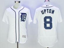 mens majestic detroit tigers #8 justin upton white Flex Base jersey