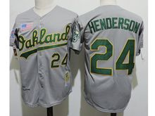 Mens Mlb Oakland Athletics #24 Ricky Henderson Gray (american Flag Sign) Jersey(sn)