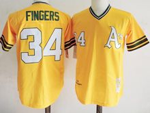Mens Mlb Oakland Athletics #34 Rollie Fingers Yellow Throwbacks Jersey