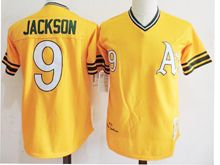 Mens Mlb Oakland Athletics #9 Reggie Jackson Yellow Throwbacks Jersey