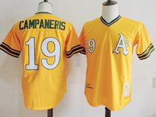 Mens Mlb Oakland Athletics #19 Bert Campaneris Yellow Throwbacks Jersey