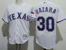 mens majestic texas rangers #30 nomar mazara white Flex Base jersey
