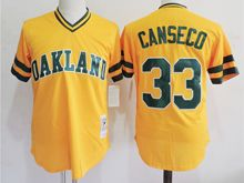 Mens Mlb Oakland Athletics #33 Jose Canseco Yellow Mitchell&ness Pullover Mesh Throwbacks Jersey