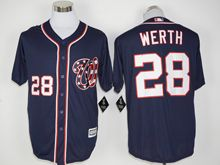 Mens Mlb Washington Nationals #28 Jayson Werth Dark Blue Jersey