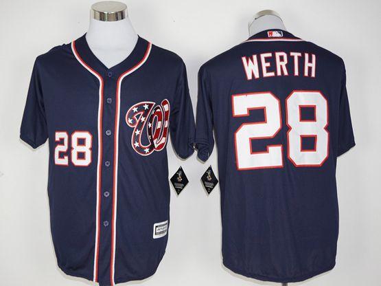 Mens Mlb Washington Nationals #28 Jayson Werth Dark Blue Jersey