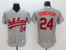 mens majestic oakland athletics #24 ricky henderson gray fashion stars stripes Flex Base jersey