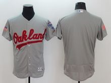mens majestic oakland athletics blank gray fashion stars stripes Flex Base jersey