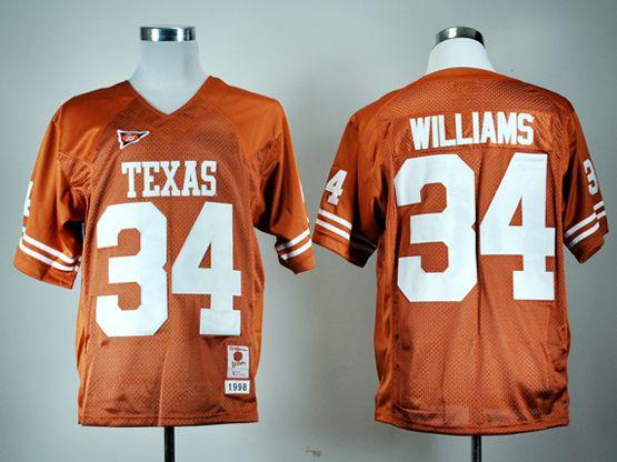 Mens Ncaa Nfl Texas Longhorns #34 Ricky Williams Burnt Orange Throwback Jersey