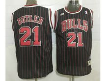 Mens Nba Chicago Bulls #21 Jimmy Butler Black (red Stripe) Revolution 30 Mesh Jersey(sn)