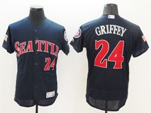 mens majestic seattle mariners #24 ken griffey jr dark blue fashion stars stripes Flex Base jersey