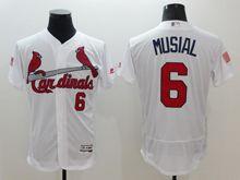 mens majestic st.louis cardinals #6 stan musial white fashion stars stripes Flex Base jersey
