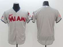 mens majestic miami marlins blank gray fashion stars stripes Flex Base jersey