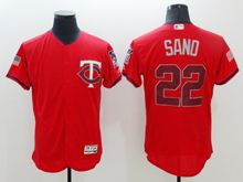 mens majestic minnesota twins #22 miguel sano scarlet fashion stars stripes Flex Base jersey
