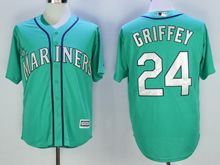 Mens Mlb Seattle Mariners #24 Ken Griffey Jr Green (hall Of Fame Mark) Jersey