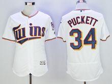 mens majestic mlb minnesota twins #34 kirby puckett white Flex Base jersey