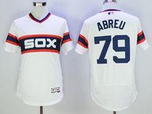 mens majestic chicago white sox #79 jose abreu white pullover throwbacks Flex Base jersey