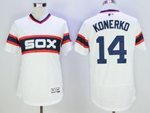 mens majestic chicago white sox #14 paul konerko white pullover throwbacks Flex Base jersey