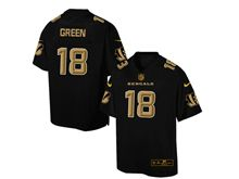 Mens Nfl Cincinnati Bengals #18 A.j.green Pro Line Black Gold Collection Jersey