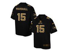 Mens Nfl New York Jets #15 Brandon Marshall Pro Line Black Gold Collection Jersey