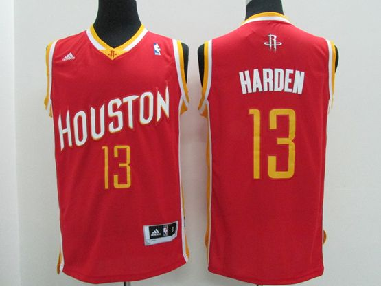 Mens Nba Houston Rockets #13 Harden Red (gold Number) Revolution 30 Jersey (p)