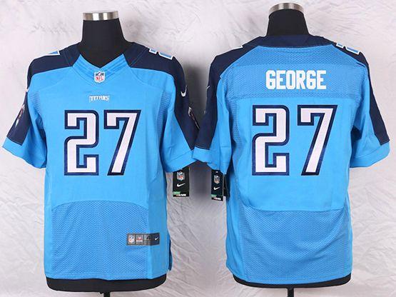Mens Nfl Tennessee Titans #27 Eddie George Light Blue Elite Jersey