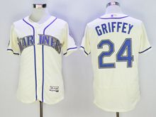 mens majestic seattle mariners #24 ken griffey jr creamy white Flex Base jersey