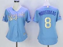 Women Mlb Kansas City Royals #8 Mike Moustakas (kc) Light Blue Champion Version Jersey