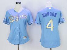 Women Mlb Kansas City Royals #4 Alex Gordon (kc) Light Blue Champion Version Jersey