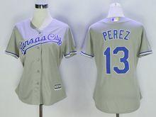 Women Mlb Kansas City Royals #13 Salvador Perez Gray Jersey
