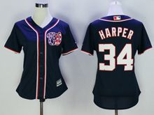 Women Mlb Washington Nationals #34 Bryce Harper Navy Blue Jersey