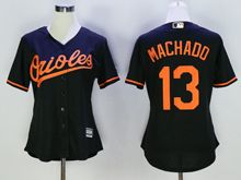 Women Mlb Baltimore Orioles #13 Manny Machado Black Jersey