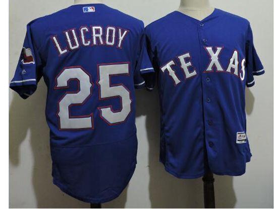 mens majestic texas rangers #25 jonathan lucroy blue Flex Base jersey