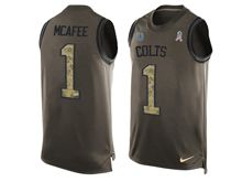 mens nfl indianapolis colts #1 pat mcafee Green salute to service limited tank top jersey