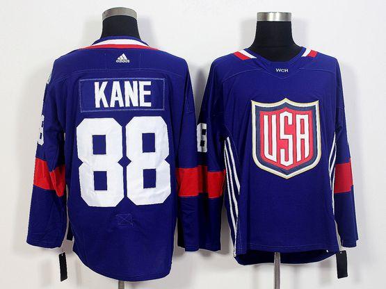 Mens Team Usa #88 Patrick Kane Blue 2016 World Cup Hockey Jersey