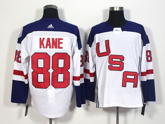 Mens Team Usa #88 Patrick Kane White 2016 World Cup Hockey Jersey