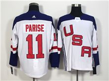 Mens Team Usa #11 Zach Parise White 2016 World Cup Hockey Jersey