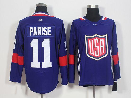 Mens Team Usa #11 Zach Parise Blue 2016 World Cup Hockey Jersey