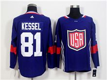 Mens Team Usa #81 Phil Kessel Blue 2016 World Cup Hockey Jersey