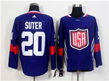 Mens Team Usa #20 Ryan Suter Blue 2016 World Cup Hockey Jersey