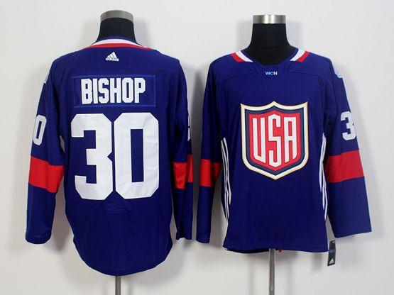 Mens Team Usa #30 Ben Bishop Blue 2016 World Cup Hockey Jersey