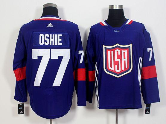 Mens Team Usa #77 T. J. Oshie Blue 2016 World Cup Hockey Jersey