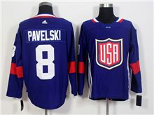 Mens Team Usa #8 Joe Pavelski Blue 2016 World Cup Hockey Jersey