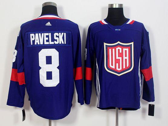 Mens Team Usa #8 Joe Pavelski Blue 2016 World Cup Hockey Jersey