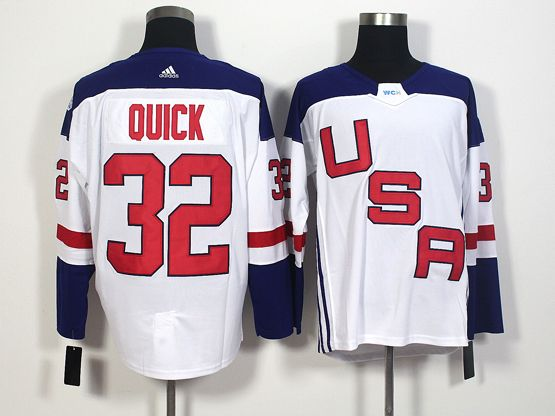 Mens Team Usa #32 Jonathan Quick White 2016 World Cup Hockey Jersey