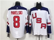 Mens Team Usa #8 Joe Pavelski White 2016 World Cup Hockey Jersey