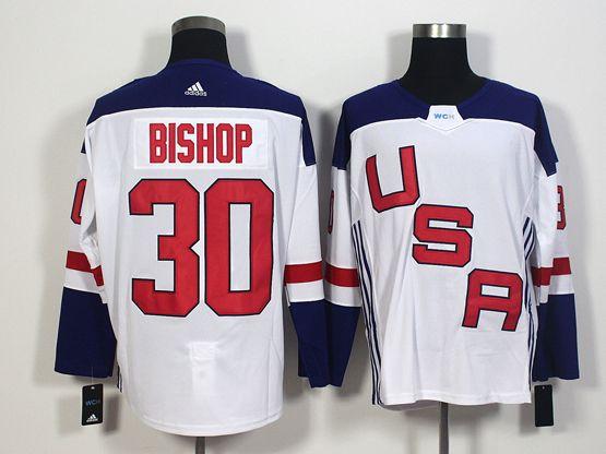 Mens Team Usa #30 Ben Bishop White 2016 World Cup Hockey Jersey